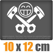 Piston Crâne 10 x 12 cm JDM Sticker Voiture Automatique Blanc