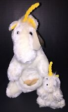 """Vintage 1982 Unicorn & Baby In Pouch 14"""" Plush Rainbo Toy Co. Very RARE HTF NWT"""