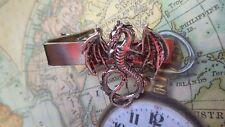 T504 Antique Silver Flying Dragon Tie Bar Clip Tacks Steampunk Gothic Punk