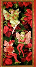 Holiday Flower Fairies Fairy Red Cicely Mary Barker Michael Miller Fabric Panel
