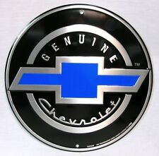 GENUINE CHEVROLET CHEVY BOWTIE ROUND METAL TIN SIGN GARAGE BARN INDOOR OUTDOOR
