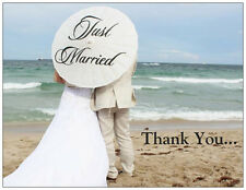 20 BEACH Umbrella Just MARRIED Wedding THANK YOU Flat Cards & ENV Seals Shower