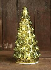 """LED Lighted Green Mercury Glass Christmas Tree with Branches 10.5"""" Figure"""