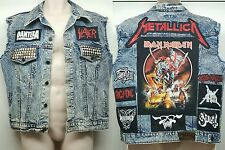 Metal Punk Jean Cut Vest Jacket Patch Pantera Ghost Slayer Metallica Iron Maiden