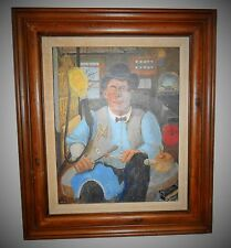 Vintage Portrait of man in workshop Acrylic Painting on PaperBoard Artist Signed