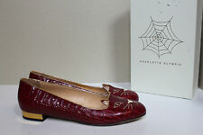 10 / 40 Charlotte Olympia Burgundy Croc effect Kitty Flat Cat Face Slip on Shoes