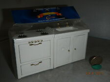 Dollhouse Miniature Kitchen Sink and Oven Stove in White Handley CLA91602 NIP