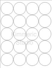 6 SHEETS 2 INCH ROUND BLANK WHITE STICKERS LABELS (120 stickers) 8-1/2x11 SHEETS