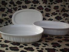 Corning Ware French White 15 Oz. Oval Low Dishes 2 With 1 Plastic Lid