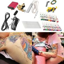 New Tattoo Machines Gun Equipment Power Supply 20 Color Ink Cup Tattoo Set F7