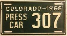 Old Photo. 1966 Colorado Press Car Supplemental License Plate