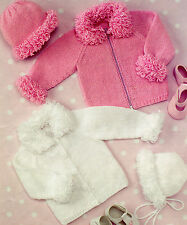 Knitting Pattern - Baby to Girls Loopy Edged Cardigan/Hat/Bonnet -5 sizes PO146