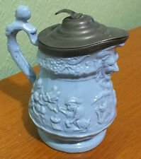 STONEWARE JUG PEWTER/PLATED? LID BLUE MONKEY PIRATES? PLAYING CARDS