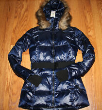 NWT Womens S13/NYC Hooded Belted Midnight Blue Shaped Silhouette Down Jacket XS
