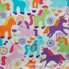 BonEful Fabric FQ Cotton Quilt White Purple Pink Horse Little Pony Unicorn Girl