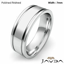 Flat Fit Plain Ring Men's Wedding Solid Band 7mm 18k White Gold 12.5g 12-12.75