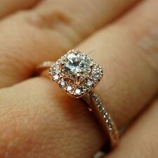 1.4/6 Carat Solitaire Square Halo Diamond Women's Engagement Ring In Rose Gold