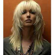 New sexy ladies Medium long Blonde Straight Natural Hair wigs Dress wig cap