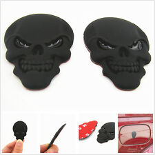 "2 PCS Seat Steering Wheel Car Body 1.9"" 3D Skull Head Metal Emblem Sticker Badge"