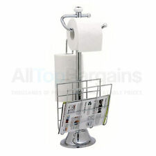 Standing Chrome Magazine Rack Toilet Paper Tissue Holder Stand Bathroom Organize