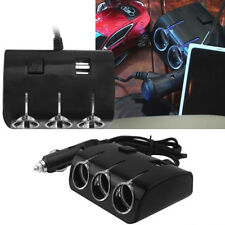 3Sockets Way Car Cigarette Lighter Splitter Power Adapter Dual Usb Car Charger