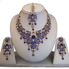 ORO Blu Indiano Bigiotteria Collana Orecchini Diamond Set da sposa nuovo regalo