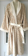 NEW WT TAHARI WOMEN'S TERRY SPA SHOWER BATH ROBE L/XL GOLD-WHITE 70% COTTON GIFT