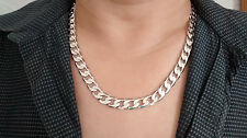 60cm 10mm 18ct White Gold Stoneless Chain Necklace Men's Christmas Birthday Gift