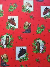 Holly Jolly Christmas 5 Horse Red Mary Lake Thompson Fabric Robert Kaufman Yard