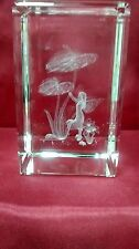 Bevelled Edge Glass 3D Laser Block Paperweight : Flower Fairy - Anthuriums
