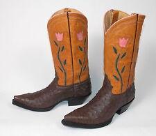Jurassic Ranch Donna Jean Brown Ostrich Cowboy Boots Wm's 8B Inlaid Worn 3X Vtg