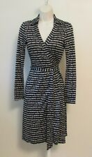Diane von Furstenberg New Jeanne DVF black name wrap dress 4 new white logo