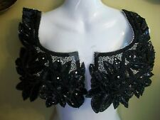 JACKET NECKLINE - RHINESTONE Mirror Image Applique BLACK   ****FABULOUS***
