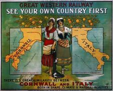 Vintage Rail advertising travel railway poster  A4 RE PRINT GWR Cornwall & Italy