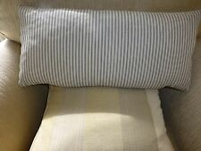 RECTANGULAR CHARCOAL AND CREAM TICKING CUSHION COVERS