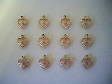 VTG (12) Pink Lucite Mustard Seed Heart Charms Pendants Faith Religious B