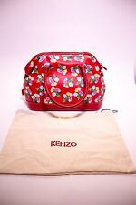 Authentic KENZO Red Multicolor Printed Floral Leather Bag Handbag Vtg