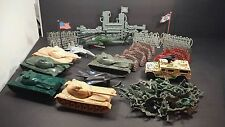 "Army men 2"" toy lot tanks playset, planes, bunkers, fences over 70 pieces"