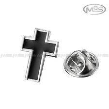 Buy 2 Get 1 Free Crucifix Cross Black Silver Suit Lapel Pin Brooch Emblem Badge