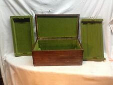 Vintage wood Dovetail jewery box Stash storage trinket Box with ring trays