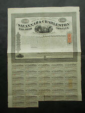 CSA WAR RAILROAD: SAVANNAH & CHARLESTON RR  -  1869  - TRAIN ON CURVED TRESLE