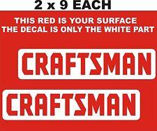 """2- CRAFTSMAN  DECALS-STICKERS  WHITE 2 """" X 9"""" EACH"""