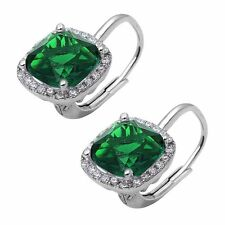 Cushion Cut Green Emerald and Cubic Zirconia .925 Sterling Silver Earring