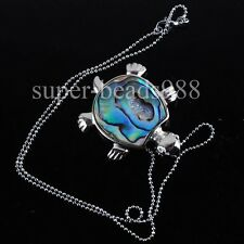 New Zealand Abalone Shell Turtle Pendant Beads Silver Plated Necklace SN1150