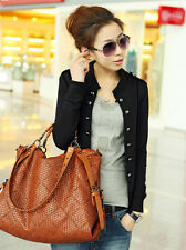 Women's Military Suit Blazer Slim Fit Casual Double Breasted Jacket Coat Tops