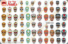 63 Sugar Skull Nail Art Stickers Transfers Decals Tattoo, Dia de los Muertos SS1