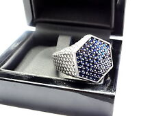 Men's 14 K Gold Custom Hexagon Ring With Blue Sapphires by Sacred Angels