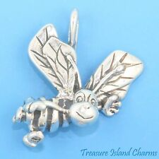 BUMBLE HONEY BEE 3D .925 Solid Sterling Silver Charm PENDANT