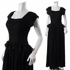 STUNNNING CREPE BLACK PEPLUM Vintage 30s 40s WWII HOLLYWOOD MAXI GOWN DRESS XS