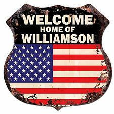 BP0489 WELCOME HOME OF WILLIAMSON Family Name Shield Chic Sign Home Decor Gift